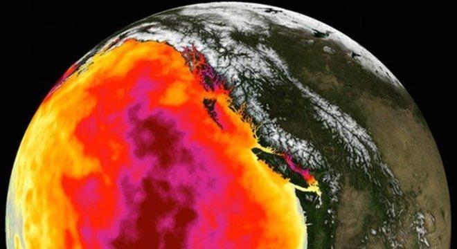 Em 2014, satélites registraram um aquecimento fora do comum no oceano pacífico, perto da costa oeste dos EUA