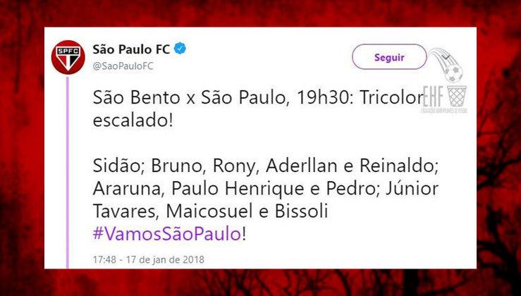 Time alternativo do São Paulo no início de 2018, sob o comando de Dorival Júnior.