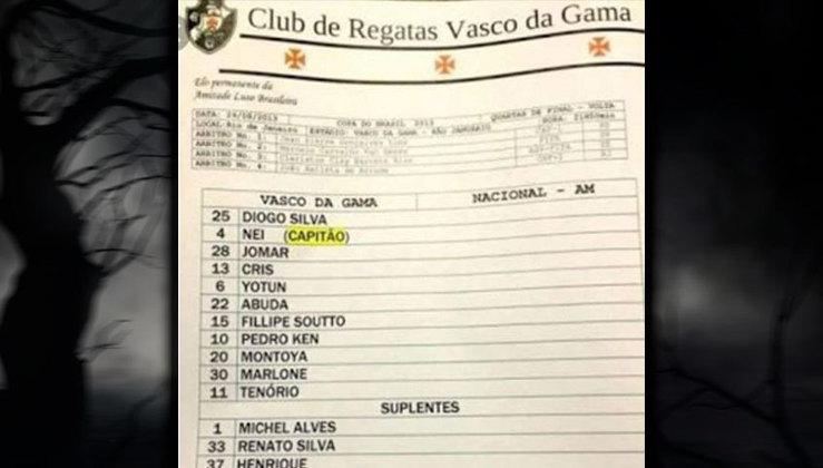 Time do Vasco de 2013, com dois goleiros que não deixaram saudades para os cruzmaltinos, além de outros jogadores questionados pelos torcedores.