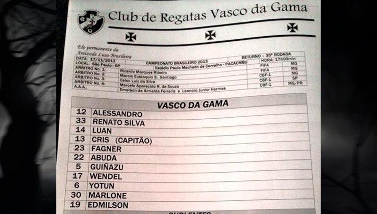 Time do Vasco no Brasileirão de 2013, ano do segundo rebaixamento do Cruzmaltino para a Série B.