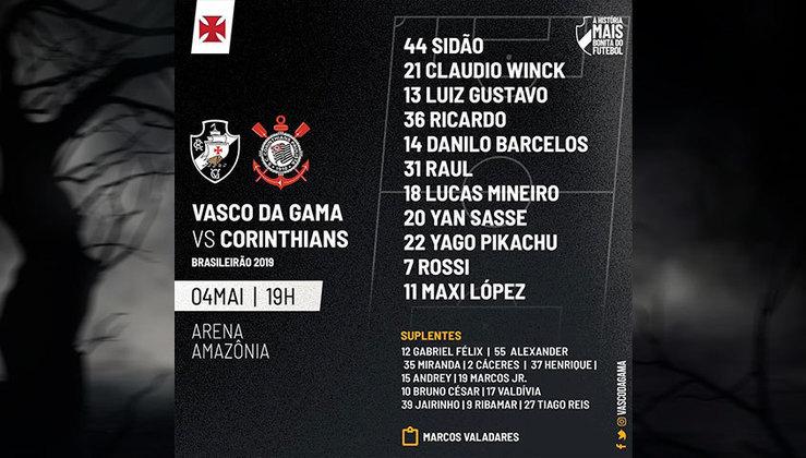 Time titular do Vasco durante o Brasileirão de 2019