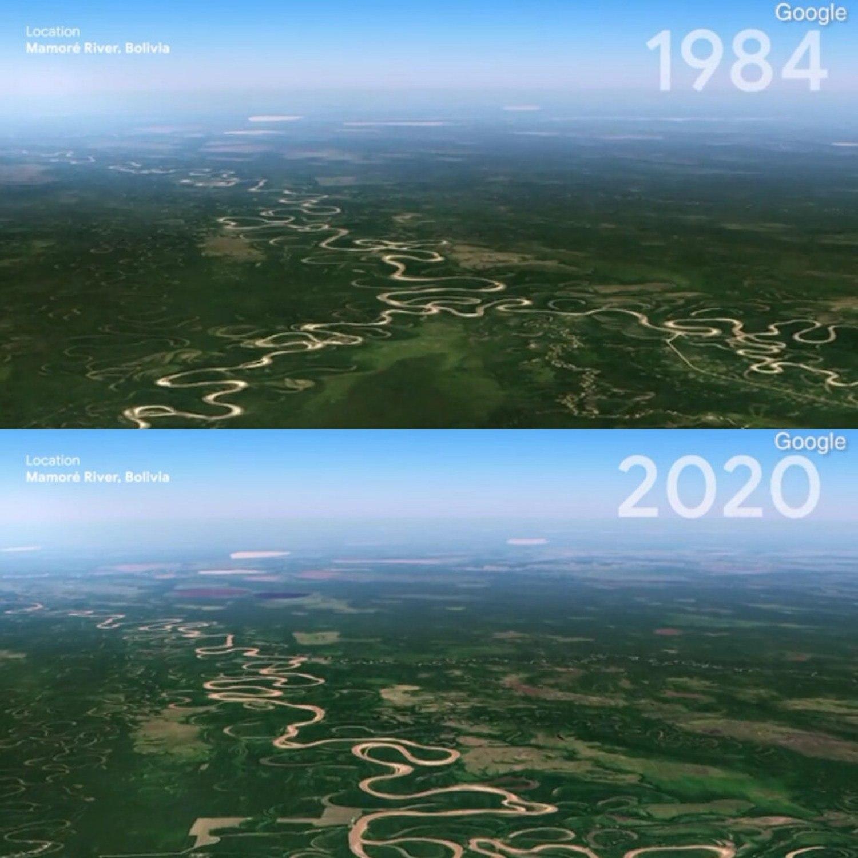Rio Mamoré, na Bolívia em 1984 e em 2020