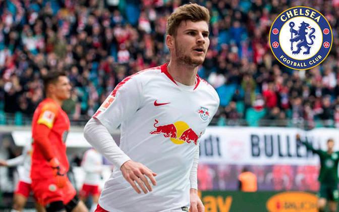 Timo Werner. Posição: Atacante. Idade: 24 anos. Clube atual: RB Leipzig. Clube interessado: Chelsea.