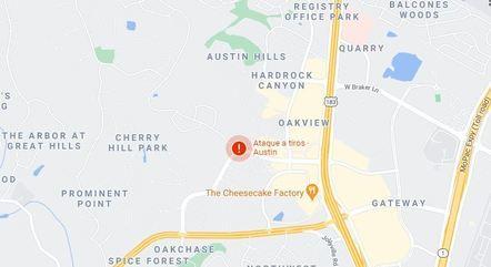 Na imagem, região em Austin que se registrou tiros