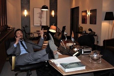 Thiago durante as gravações da novela