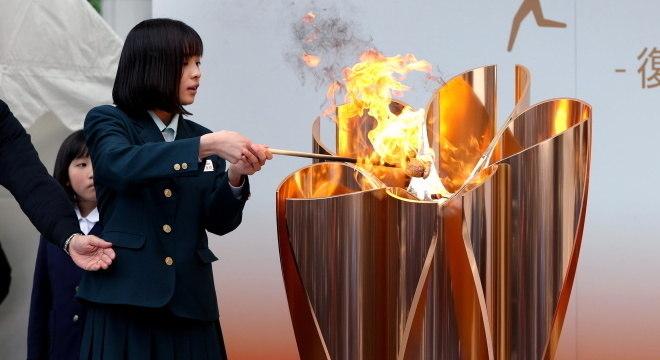 Chama Olímpica está em Fukushima, no Japão