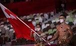 O atleta de taekwondoPita Taufatofua, da delegação de Tonga, também chamou a atenção na passagem dos representantes do país na cerimônia de abertura dos Jogos Olímpicos. Assim como nos Jogos Rio 2016, o atleta dopaís da Oceania entrou besuntado
