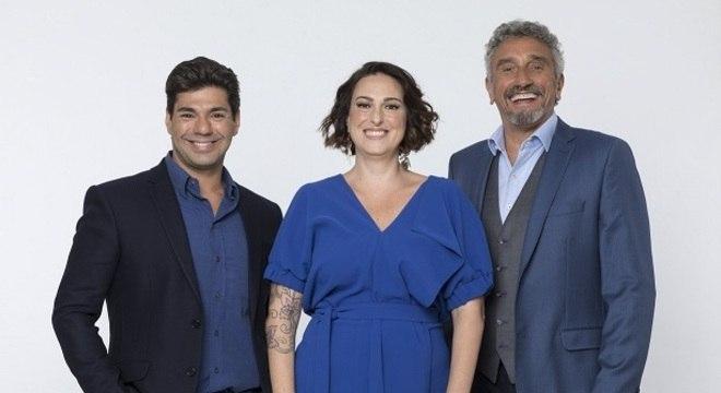 Felipe Bronze com os jurados Ailin Aleixo e Emmanuel Bassoleil