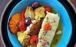 O chef Guto Medeiros apostou em um Confit de Robalo à Moda Borriello para o seu prato Top Chef! Isso sim é um show de sabores e cores, não é mesmo?