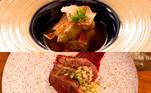 Lara e LucasOs dois chefs fizeram yakinasu de berinjela defumada com katsuobushi, bacon e momiji oroshi sobre molho ponzu como prato frio. No quente, prepararam magret de pato apimentado sobre purê de batata com umeboshi e flocos de tempura