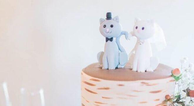 topo de bolo de casamento em formato de gatinho
