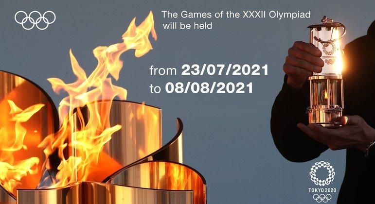 Um cartaz co COI, com a denominação oficial dos Jogos de Tóquio