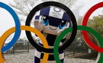 Tóquio 2020, mascote, anéis olímpicos,
