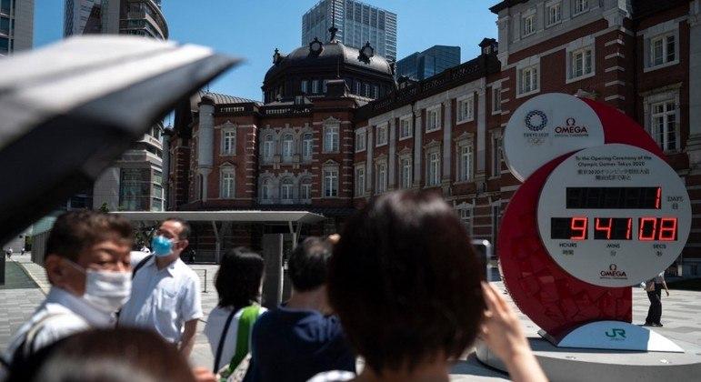Relógio mostra quanto falta para a abertura oficial dos Jogos Olímpicos de Tóquio 2020
