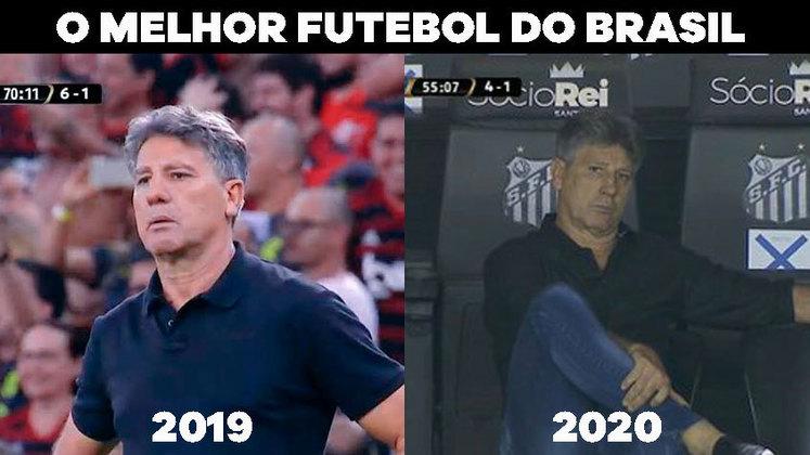 A eliminação do Grêmio na Libertadores não foi esquecida pelos torcedores rivais. Muitos deles lembraram da queda para o Flamengo em 2019 e ironizaram a fala de Renato Gaúcho, que afirmou que sua equipe tem o melhor futebol do Brasil. Confira os memes na galeria!