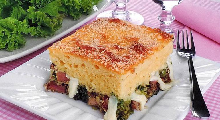 Torta de bacon com brócolis