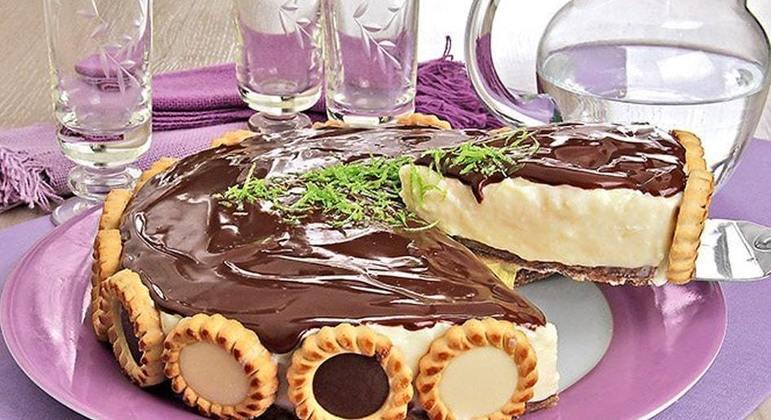 Torta holandesa de limão com chocolate