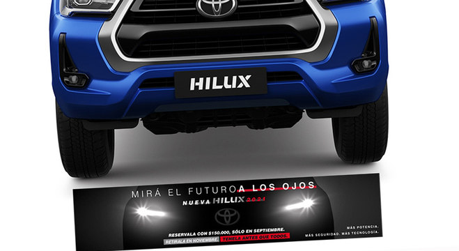 Teaser da nova Hilux 2021 em e-mail enviado para a base de clientes da marca na Argentina