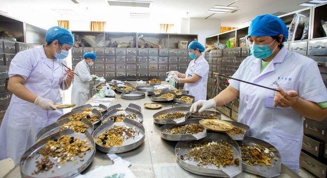 Trabalhadores preparam produtos da medicina tradicional chinesa.