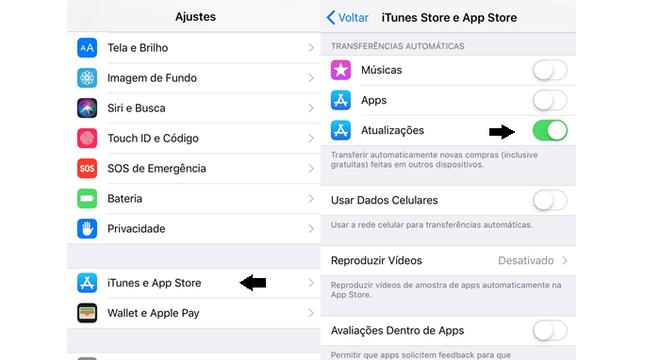 Transferência automática de atualizações no iPhone (Imagem: Reprodução/Gabrielle Lancellotti)