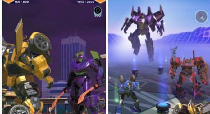 Telas do jogo com os Transformers
