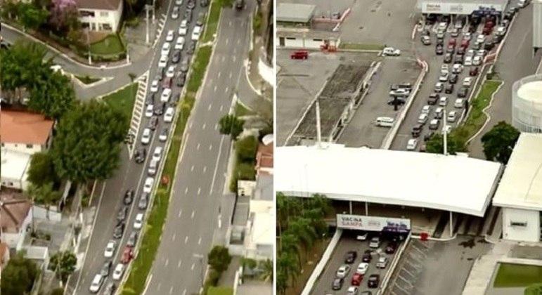 Imagens do helicóptero da Record TV mostram trânsito parado em ambas as regiões