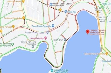 Trânsito ficou lento no entorno da Lagoa da Pampulha