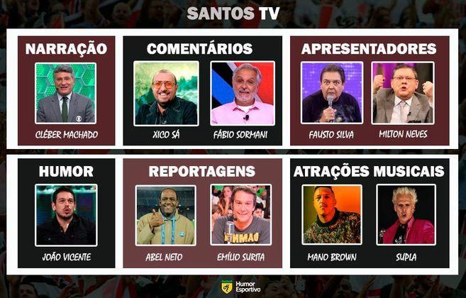 Transmissão na Santos TV somente com torcedores ilustres do clube