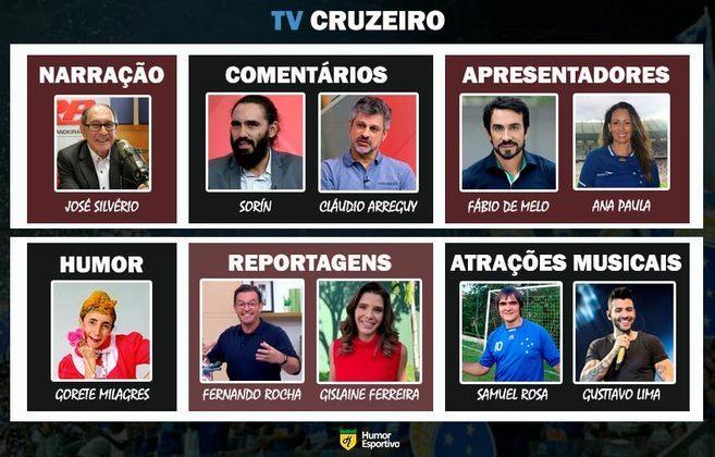Transmissão na TV Cruzeiro somente com torcedores ilustres do clube