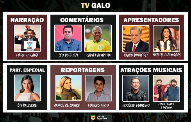 Transmissão na TV Galo somente com torcedores ilustres do Atlético-MG