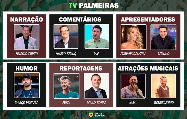Transmissão na TV Palmeiras somente com torcedores ilustres do clube