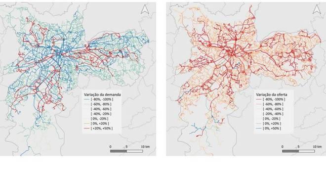 Mapas mostram a variação da demanda, à esquerda, e da oferta, à direita