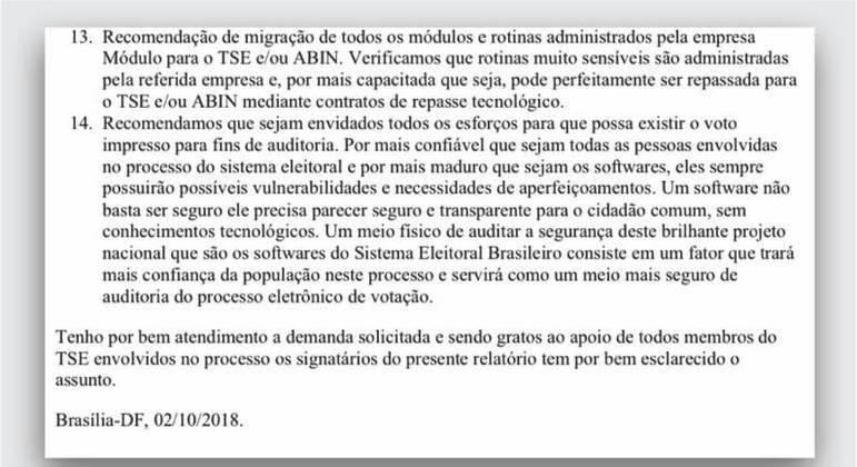 Trecho de documento elaborado pela PF em 2018 e enviado nesta semana ao Senado