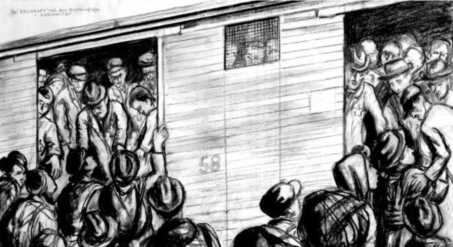"""Obra """"Trem de gado para Auschwitz"""""""