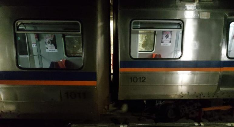 Trem do Metrô-DF que descarrilou na noite de segunda (13)