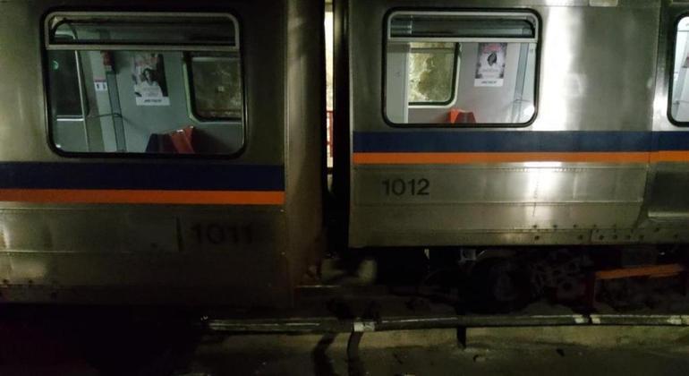 Trem do Metrô-DF que descarrilou na noite dessa segunda (13)