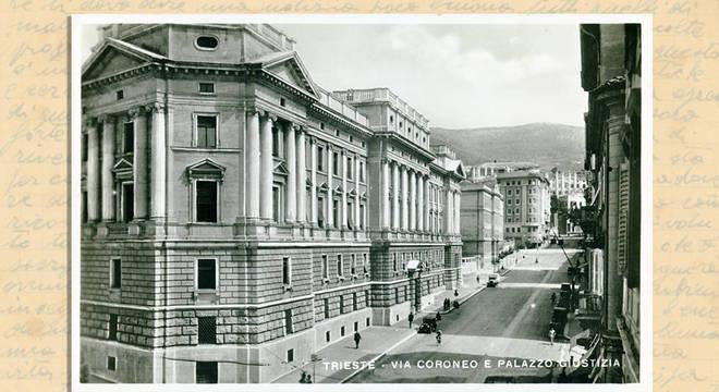 Tribunal na Via Coroneo, em Trieste — a prisão ainda está em operação no fundo do edifício
