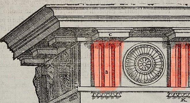 Tríglifo são apenas uma das várias memórias deixadas pelas vigas de madeira nos templos gregos de pedra
