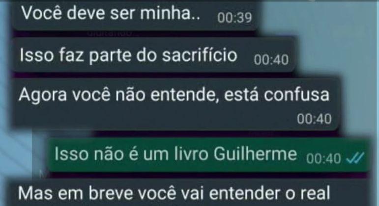 Troca de mensagens entre Ingrid e Guilherme