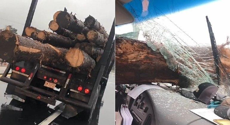 Tronco varou para-brisa de carro após se soltar da traseira de caminhão, em rodovia dos EUA