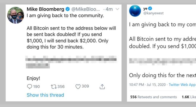 Os candidatos à presidência Mike Bloomberg, que buscou indicação democrata, e Kanye West, que disse que concorreria como independente, estavam entre os hackeados.