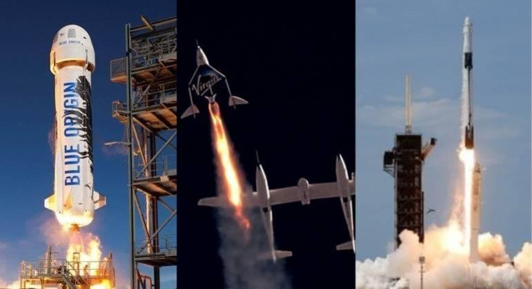 Blue Origin, Virgin Galactic e SpaceX são as três empresas que disputam o turismo espacial