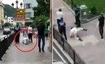 Um turista preferiu imitar um cachorro, no meio de uma calçada, a ter que usar a máscara recomendada para reduzir a propagação do novo coronavírus