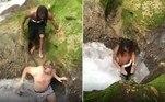 Uma dupla de turistas noruegueses chocou internautas ao mergulhar no sumidouro de uma cachoeira, nos arredores dePort Antonio, na Jamaica