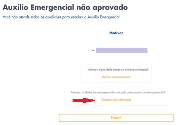 Tela do aplicativo com motivo que permite a contestação ou nova solicitação