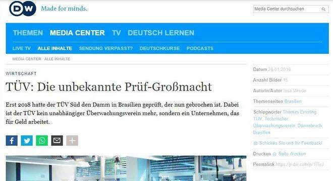 Deutsche Welle diz que TÜV Süd 'trabalha por dinheiro'