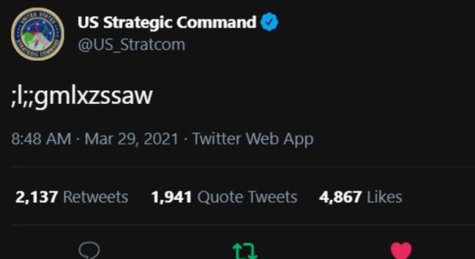 Criança tweetou sem querer em uma conta do comando dos EUA