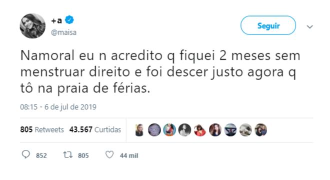 Postagem da Maisa no Twitter mostra indignação sobre menstruar nas férias