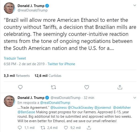 Trump comemora etanol dos EUA no mercado brasileiro, mas apaga post