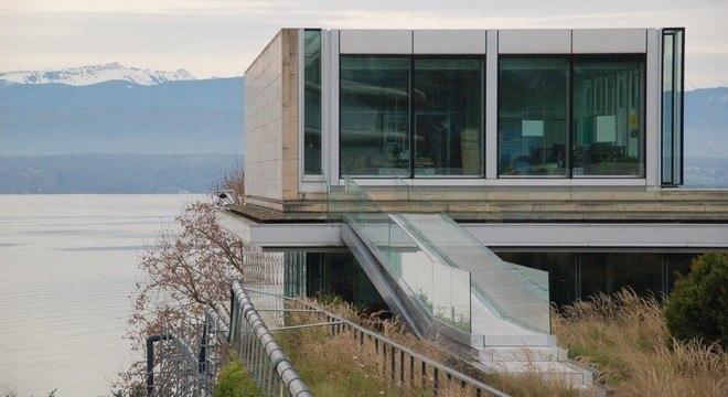 Um detalhe da sede da UEFA, em Nyon
